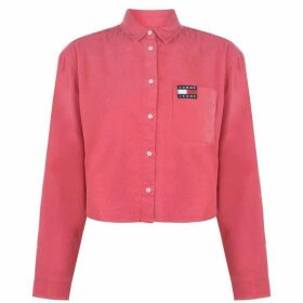 Tommy Jeans Cropped Cord Shirt - CLARET RED