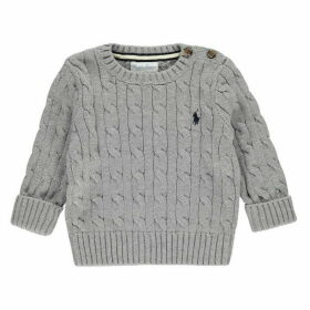 Ralph Lauren Kw Ls Cable Crew Neck - Grey Marl