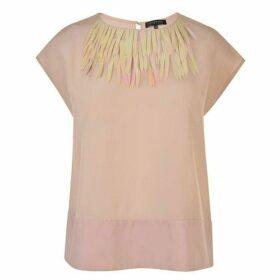 Patrizia Pepe Embellished Silk Top