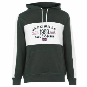 Jack Wills Dorneywood Cut And Sew Hoodie - Dark Green