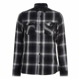 Firetrap Long Sleeve Check Shirt Mens - Charcoal Check