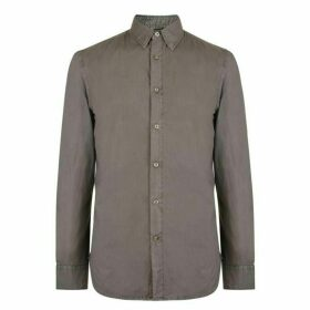 French Connection Sleeve Cotton Shirt - Dk Olive