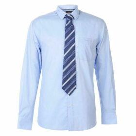 Pierre Cardin Long Sleeve Shirt Tie Set Mens - Blue/Navy Plain