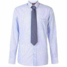Pierre Cardin Long Sleeve Shirt Tie Set Mens - Blue/Wht Stripe