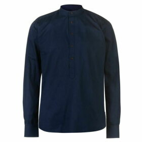 Pierre Cardin Collarless Long Sleeve Shirt Mens - Navy