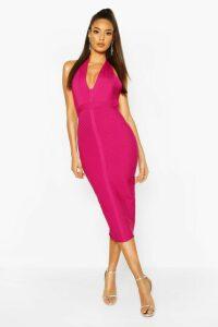 Womens Boutique Bandage Plunge Midi Dress - Pink - 12, Pink