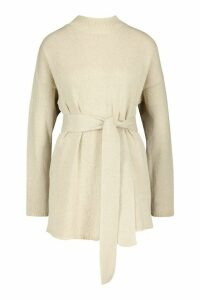 Womens Belted High Neck Jumper - beige - L, Beige