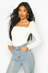 Womens Crepe Square Neck Ruched Sleeve Top - White - 12, White