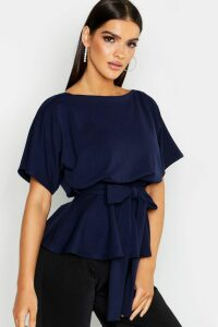Womens Slash Neck Tie Waist Peplum Hem Top - Navy - 8, Navy