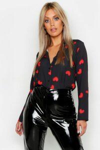 Womens Plus Woven Heart Print Shirt - black - 20, Black