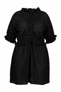 Womens Plus Broiderie Anglais Beach Dress - black - 20, Black