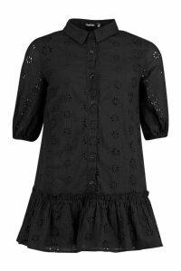 Womens Petite Broderie Shirt Dress - black - 14, Black