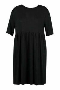 Womens Plus Jersey Smock Dress - Black - 26, Black