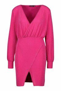 Womens Glitter Wrap Detail Bodycon Mini Dress - Pink - 12, Pink