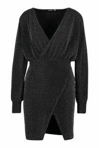 Womens Glitter Wrap Detail Bodycon Mini Dress - black - 14, Black