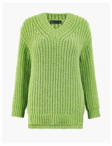M&S Collection Textured V Neck Jumper