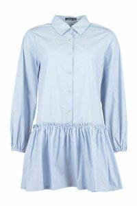 Womens Frill Hem Cotton Shirt Dress - Blue - 8, Blue