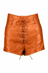 Womens Lace Up Front Leather Look Shorts - Brown - 14, Brown