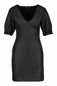 Womens V Neck Shimmer Dress With Glitter Organza Ruffle - black - 14, Black