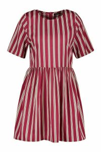 Womens Stripe Crew Neck Smock Dress - Red - 12, Red