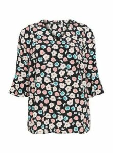Black Floral Print Frill Sleeve Top, Dark Multi