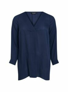 Navy Blue Long Sleeve Cross Front Top, Navy
