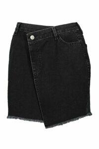 Womens Tall Wrap Over Frayed Hem Mini Skirt - black - 18, Black