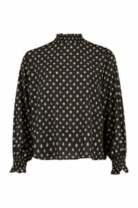 Womens Polka Dot High Neck Blouse - green - 12, Green