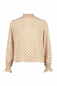 Womens Polka Dot High Neck Blouse - Beige - 14, Beige