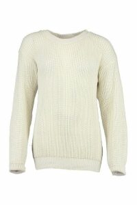Womens Petite Oversized Jumper - white - 14, White