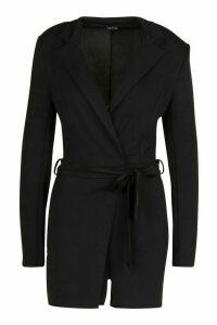 Womens Tall Belted Blazer Playsuit - Black - 18, Black