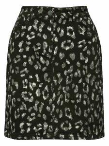 Women's Petite foil leopard print skirt