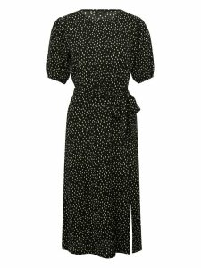 Women's Ladies black spot print puff sleeve midi sleeve