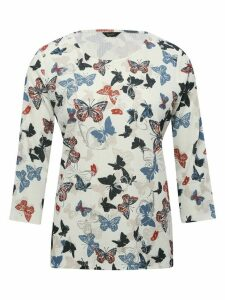 Women's Ladies Spirit crinkle butterfly foil print top