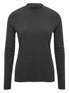 Women's Ladies long sleeve ribbed polo neck top