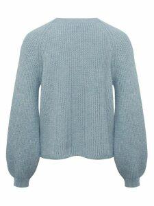 Ladies petite blouson sleeve jumper  - Pale Blue