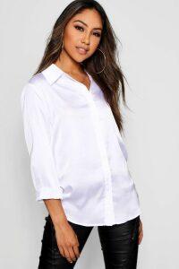Womens Woven Satin Oversized Long Sleeve Shirt - White - 14, White