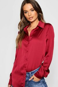 Womens Woven Satin Oversized Long Sleeve Shirt - Red - 8, Red