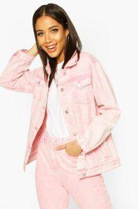 Womens Acid Wash Oversized Denim Jacket - Pink - 16, Pink