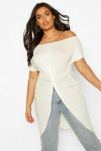 Womens Plus Off The Shoulder Twist Maxi Top - White - 18, White