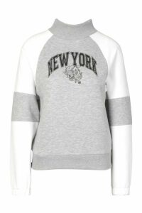 Womens Petite Varsity Slogan High Neck Sweat Top - Grey - 6, Grey