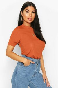 Womens Petite Ribbed Basic T Shirt - Orange - 14, Orange