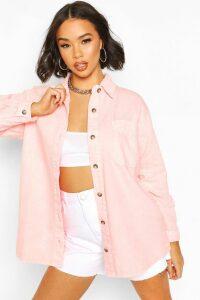 Womens Oversize Acid Wash Rigid Denim Shirt - Pink - 14, Pink