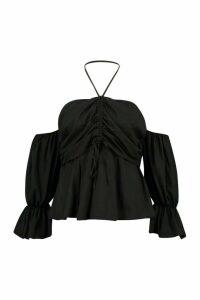 Womens Plus Bardot Ruched Hatter Tie Top - black - 20, Black