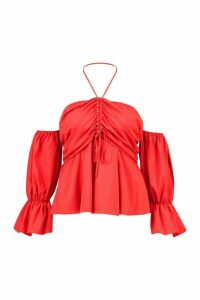 Womens Plus Bardot Ruched Halter Tie Top - red - 16, Red