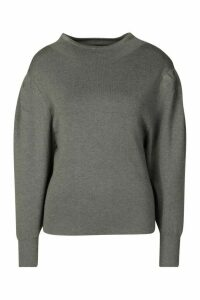 Womens Petite Volume Sleeve Jumper - grey - S, Grey