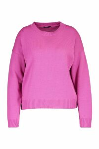 Womens Plus Boxy Crew Neck Jumper - Pink - 20/22, Pink