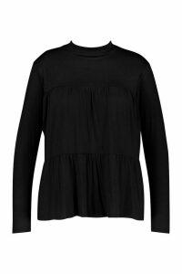 Womens Plus High Neck Tunic Smock Top - black - 20, Black