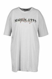 Womens Plus Slogan T-Shirt Dress - grey - 20, Grey