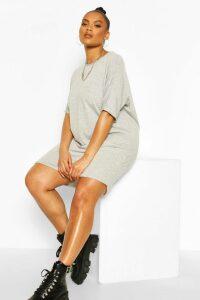 Womens Plus Oversized T-Shirt Dress - Grey - 28, Grey